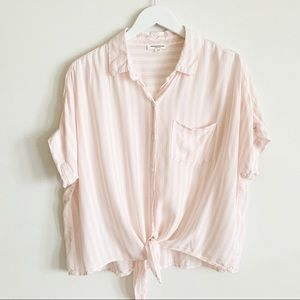 Beachlunchlounge Striped Tie Front Button Shirt L